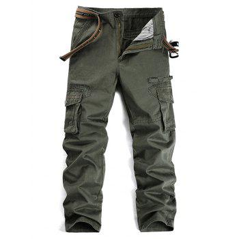 Zipper Fly Selvedge Embellished Pockets Cargo Pants
