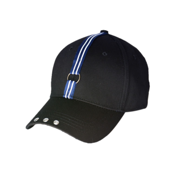 Stripe Ribbon Circle Rivet Embellished Baseball Cap