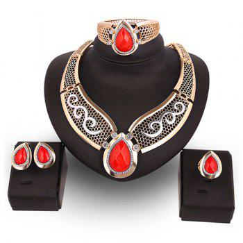 Hollow Out Teardrop Artificial Ruby Jewelry Set