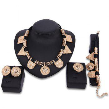 Geometric Sun Totem Engraved Jewelry Set