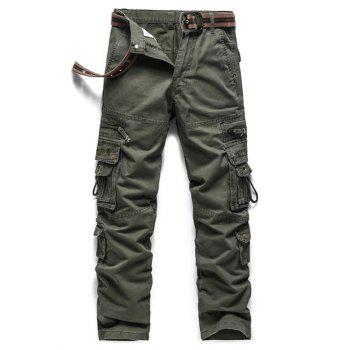 Zipper Embellished Embroidered Pockets Cargo Pants