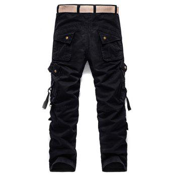 Zipper Pockets Design Buckle Embellished Cargo Pants - BLACK 32