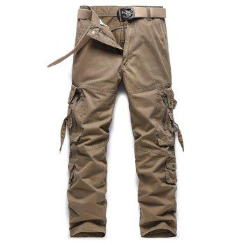 Zipper Pockets Design Buckle Embellished Cargo Pants