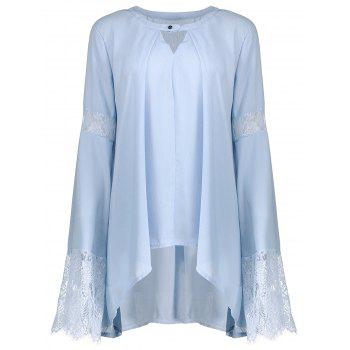 Flare Sleeve Chiffon Blouse with Lace Trim