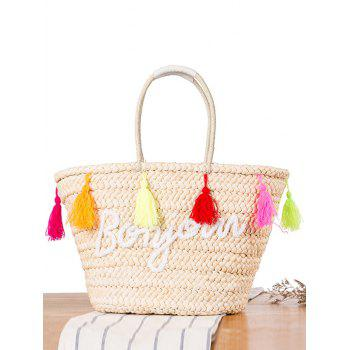 Bonjour Straw Colored Tassels Shoulder Bag