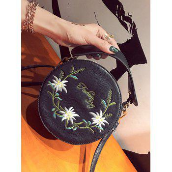 Floral Embroidery Canteen Crossbody Bag - BLACK