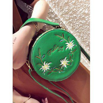 Floral Embroidery Canteen Crossbody Bag - GREEN