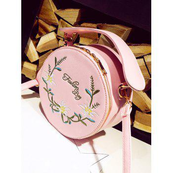 Floral Embroidery Canteen Crossbody Bag - PINK