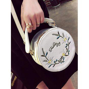Floral Embroidery Canteen Crossbody Bag - WHITE
