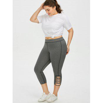 Plus Size Side Criss Cross Capri Leggings - GRAY 2XL