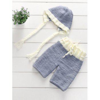 Photography Knitting Baby Sweater Pants and Ribbon Hat -  LIGHT GREY