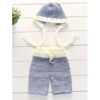 Photography Knitting Baby Sweater Pants and Ribbon Hat - LIGHT GREY LIGHT GREY