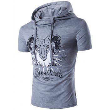 Sheep Head Printed Hooded T-Shirt
