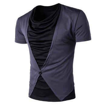 Cowl Neck Faux Twinset Button Design T-Shirt