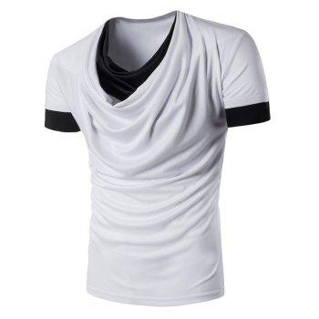 Color Block Panel Faux Twinset Cowl Neck T-Shirt