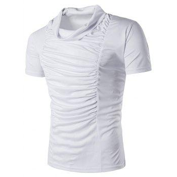 Plicated Panel Cowl Neck T-Shirt