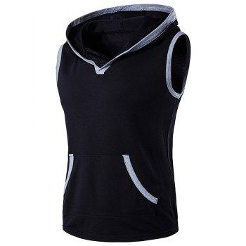 Hooded Sleeveless Pocket T-Shirt