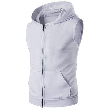 Zip Up Hooded Sleeveless T-Shirt