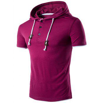 Buttons Draw String Hooded T-Shirt