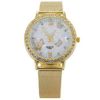 Alloy Strap Rhinestone Butterfly Watch