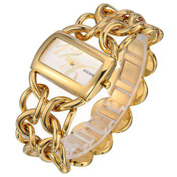 SOUSOU Alloy Strap Rectangle Watch