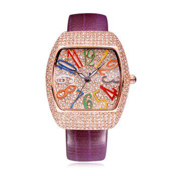 SOUSOU Rhinestone Number Quartz Watch