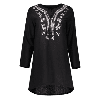 V Neck Embroidered Casual Long Sleeve Dress