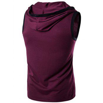 Sans manches à capuche Pocket T-Shirt - Rouge vineux 2XL