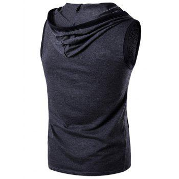 Hooded Sleeveless Pocket T-Shirt - DEEP GRAY DEEP GRAY