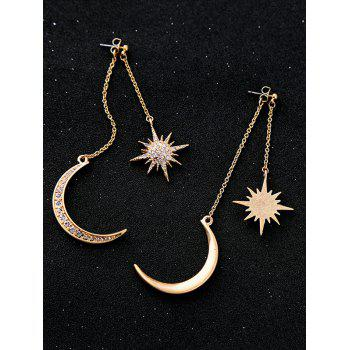 Rhinestone Moon Sun Earrings - GOLDEN