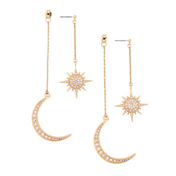 Rhinestone Moon Sun Earrings