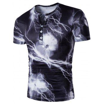 Lightning Print Half Button Henley Shirt