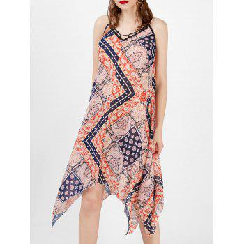 Spaghetti Strap Printed Handkerchief Bohemian Dress