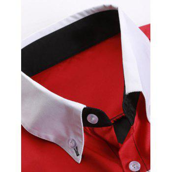Striped Long Sleeve Button Down Shirt - RED/BLACK M
