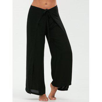 Multipurpose Wide Leg Pants with Lace Up - BLACK M
