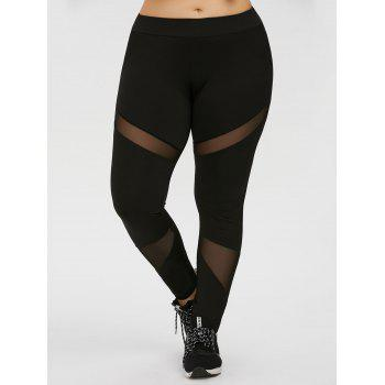 Plus Size Mesh Panel Workout Leggings