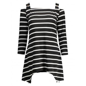 Asymmetric Cold Shoulder Striped Tee