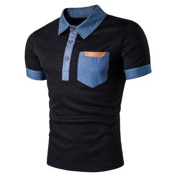 Denim Faux Leather Panel Polo T-Shirt