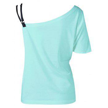 Skew Collar Butterfly Print T-Shirt - MINT MINT