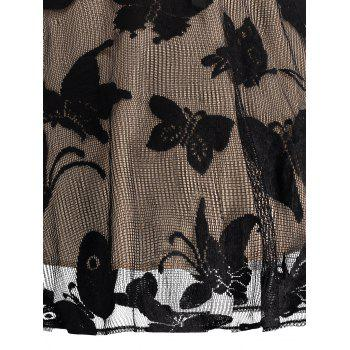 Plus Size Butterfly Jacquard Short Formal Dress - BLACK 2XL