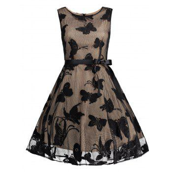 Plus Size Butterfly Jacquard A Line Short Formal Dress - BLACK BLACK