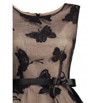 Plus Size Butterfly Jacquard A Line Short Formal Dress - BLACK 5XL