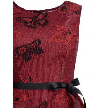 Plus Size Butterfly Jacquard A Line Short Formal Dress - RED 3XL
