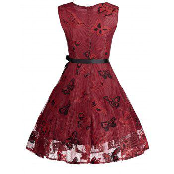 Plus Size Butterfly Jacquard Short Formal Dress - RED 2XL