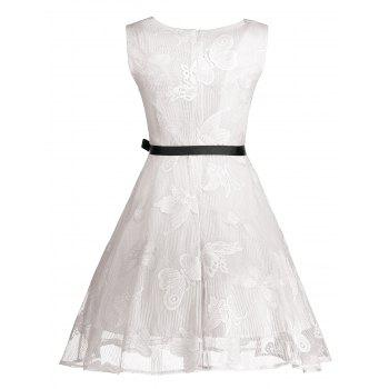 Plus Size Butterfly Jacquard Short Formal Dress - WHITE 5XL