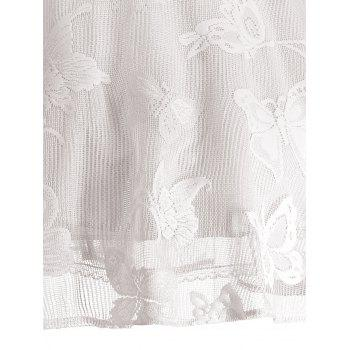 Plus Size Butterfly Jacquard A Line Short Formal Dress - WHITE WHITE