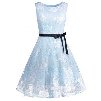 Plus Size Butterfly Jacquard A Line Short Formal Dress - LIGHT BLUE LIGHT BLUE