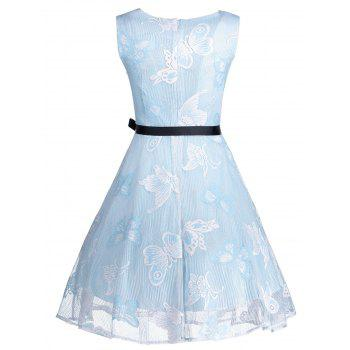 Plus Size Butterfly Jacquard Short Formal Dress - LIGHT BLUE XL