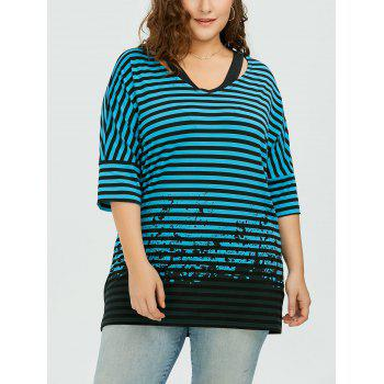 Plus Size Batwing Sleeve Striped T-Shirt