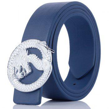 Dragon Shape Covered Buckle Wide Belt - BLUE BLUE